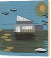 Early Painting Futuristic House Wood Print