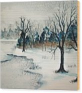 Early Snow Wood Print