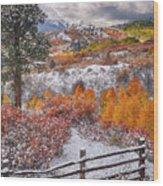 Early Snowfall At Dallas Divide Wood Print