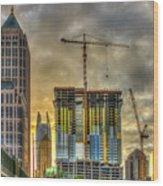 Early Start Skyscraper Construction Atlanta Georgia Art Wood Print