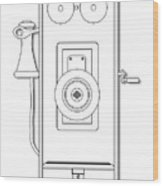 Early Telephone Line Drawing Wood Print