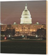 Early Washington Mornings - Us Capitol In The Spotlight Wood Print