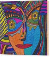 Earth And Aqua Mask - Abstract Face Wood Print