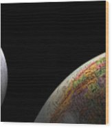 Earth And Moon Wood Print by Rob Byron