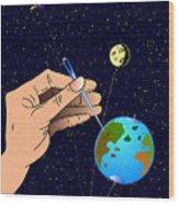 Earth Like An Inflatable Balloon Wood Print
