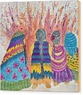 Earth Mothers - Feeding  The Fire Wood Print