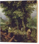 Earth Or The Earthly Paradise Wood Print by Jan the Elder Brueghel