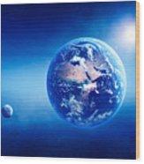 Earth Sunrise Deep Space Wood Print