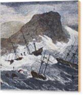 Earthquake And Tidal Wave Wood Print