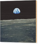 Earthrise Photographed From Apollo 11 Spacecraft Wood Print