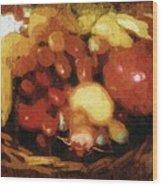 Earthtone Fruit Fresco Wood Print