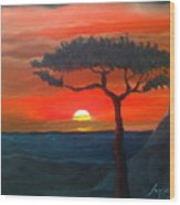 East African Sunset Wood Print