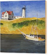East Coast Lighthouse With Crab Boat Wood Print