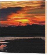 East Coast Sunset Wood Print