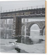 East Falls - The Frozen Schuylkill River Wood Print