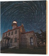 East Point Light Vortex Star Trails Wood Print