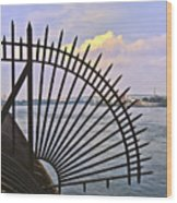 East River View Through The Spokes Wood Print