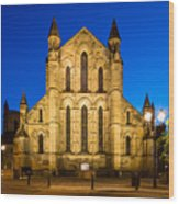 East Side Of Hexham Abbey At Night Wood Print