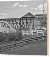 East St. Claire Covered Bridge Black And White Wood Print