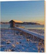 East Texas Snow, Lake Bob Sandlin, Texas. Wood Print