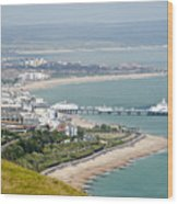Eastbourne From Beachy Head Sussex Uk Wood Print