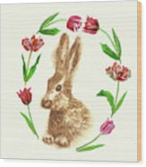 Easter Background With Rabbit Wood Print
