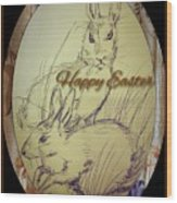 Easter Bunny  Greeting 5 Wood Print