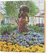 Easter Bunny Topiary Wood Print