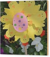 Easter Chick Decoration Wood Print