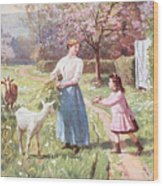 Easter Eggs In The Country Wood Print by Victor Gabriel Gilbert