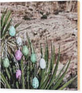 Easter Eggs On The Tree Wood Print