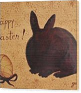 Easter Golden Egg And Chocolate Bunny Wood Print