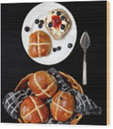 Easter Hot Cross Buns  Wood Print