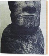 Easter Island Stone Statue Wood Print