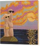 Easter Island Sunset Wood Print
