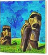 Easter Island - Van Gogh Style - Pa Wood Print