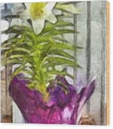 Easter Lily And Doll Wood Print