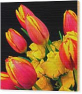 Easter Tulips And Roses Wood Print