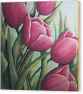 Easter Tulips Wood Print