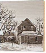 Eastern Montana Farmhouse Sepia Wood Print