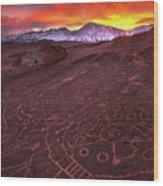 Eastern Sierra Petrolpyh Sunset Wood Print