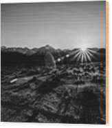 Eastern Sierra Sunset In Monochrome Wood Print