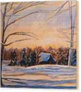 Eastern Townships In Winter Wood Print