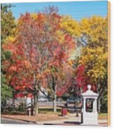 Easthampton Center In The Fall Wood Print