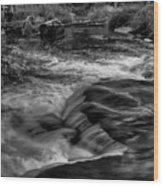 Eau Claire Dells Black And White Flow Wood Print
