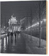 Ebertstrasse And The Brandenburg Gate Wood Print