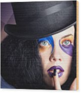 Eccentric Mad Fashion Hatter In Colourful Makeup Wood Print