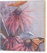 Echinacea And Butterflies Wood Print
