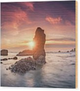 Ecola State Park Beach Sunset Pano Wood Print