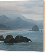 Ecola State Park View Of Haystack Rock And 3 Arch Rocks Wood Print